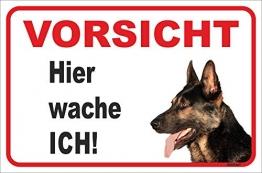 AdriLeo Schild - Vorsicht Deutscher Schäferhund - Hier wache ich - (20x30cm) / Achtung Hund Wachhund - 1