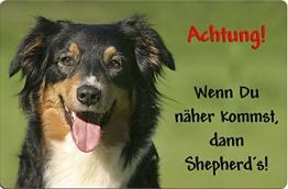 +++ Australian SHEPHERD - Metall WARNSCHILD Schild Hundeschild Sign - ASD 16 T38 - 1