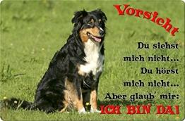 +++ Australian SHEPHERD - Metall WARNSCHILD Schild Hundeschild Sign - ASD 17 T2 - 1