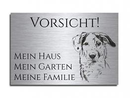 """Echtes Edelstahl Hinweis-Schild Türschild Größe 12x8 oder 15x10 cm"""" Hier wache ich"""" Hund Schäferhund selbstklebend oder mit Bohrlöcher Betreten auf eigene Gefahr Hundeschild Modell: M10 - 1"""