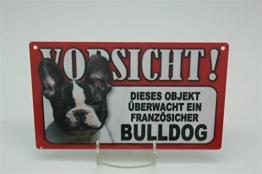 FRANZÖSISCHE BULLDOGGE - Tierwarnschild - VORSICHT Tier Warnschild 20x12 cm Hund Hunde Schild 22 - 1
