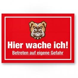 Hier Wache ich (rot) - Hunde Kunststoff Schild, Hinweisschild Gartentor/Gartenzaun - Türschild Haustüre, Warnschild Abschreckung/Einbruchschutz - Achtung/Vorsicht Hund - 1