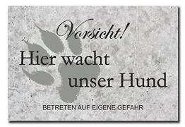 Hochwertiges Metallschild 30 x 20 cm aus Alu Verbund Vorsicht hier wacht unser Hund Deko Schild Wandschild - 1
