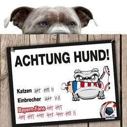 Hunde-Warnschild Schutz vor Bayern-Fans | Dortmund 09-, 1. FC Schalke- & alle Fußball-Fans, Dieser Revier-Markierer schützt Haus & Hof vor Bayern-Fans | Achtung Vorsicht Hund Bissig - 1