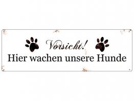 Interluxe METALLSCHILD Blech Vorsicht Hier WACHEN UNSERE * Hunde * Warnschild Haustier - 1