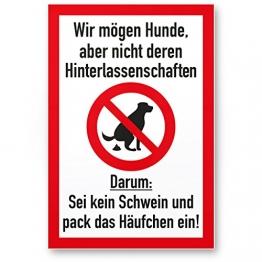 Kein Hundeklo/Keine Hundetoilette (weiß-rot) - Kunststoff Schild Hunde kacken verboten - Verbotsschild/Hundeverbotsschild, Verbot Hundeklo/Hundekot/Hundehaufen/Hundekacke - 1