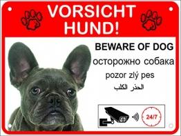 LUGUNO Hundeschilder Warnung 5-sprachig Vorsicht Hund Schild Alu (20x15cm - Bulldoge) - 1