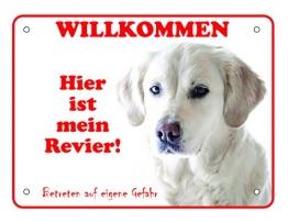 LUGUNO Schild Hund Labrador Warnung Vorsicht Hundeschilder Alu (20x15cm) mit 4 Eckbohrungen - 1