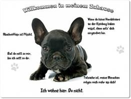 Merchandise for Fans Blechschild/Warnschild/Fun Türschild - Willkommen in Meinem Zuhause - Motiv: Französische Bulldogge Welpe schwarz - 08 - (20x30cm) - 1