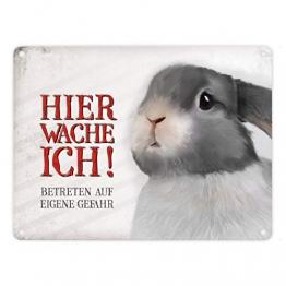 Metallschild mit Hase Motiv und Spruch: Betreten auf eigene Gefahr - Hier wache ich! - 1