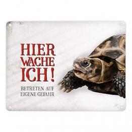 Metallschild mit Schildkröte Motiv und Spruch: Betreten auf eigene Gefahr - Hier wache ich! - 1