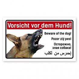 PrimeStick Vorsicht Hund Schild 5-sprachig 25x15cm Schäferhund - 1