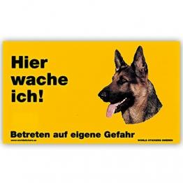 Schecker Warnschild Hier wache ich! Dt.Schäferhund Kopf Türschild Hundewarnschild - 1