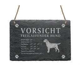 Schiefertafel « LABRADOR - VORSICHT FREILAUFENDER HUND » Schild mit Hunde Motiv - Türschild Dekoration - Garten Terrasse Haustür Tor - 1