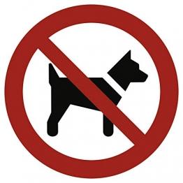 Schild Mitführen von Hunden verboten gemäß ASR A1.3 / DIN 7010 Alu 20 cm Ø (Hundeverbot, Verbotsschild) wetterfest - 1