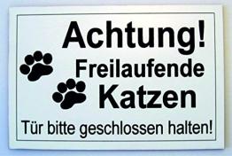 Achtung Freilaufende Katzen Gravur Schild 15 x 10 cm Katzenschild Katze Neu - 1