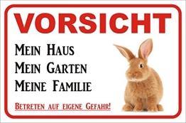 AdriLeo Schild Vorsicht Kaninchen/Hase - Mein Haus 15x20 oder 20x30cm (15x20cm) - 1