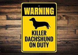 HSSS Dackel Geschenk Dackel Schild Dackel Deko Dackel Besitzer Schild Dackel Liebhaber Geschenk Warnung Hund Schild Metall Aluminium Schild 20,3 x 30,5 cm - 1
