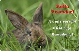 +++ KANINCHEN Hase Zwergkaninchen - METALL WARNSCHILD SCHILD TÜRSCHILD SIGN - KAN 04 - 1