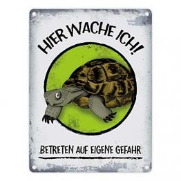 Metallschild mit Schildkröte Motiv und Spruch: Hier wache ich! Betreten auf eigene Gefahr - 1