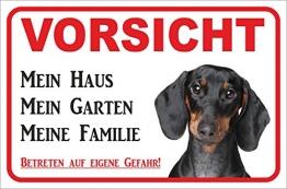 Rainbow-Print Schild - Vorsicht Kurzhaar Dackel Mein Haus (20x30cm) - 1