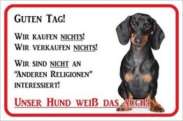 Rainbow-Print Schild - Vorsicht Kurzhaar Dackel Wir kaufen Nichts (20x30cm) - 1