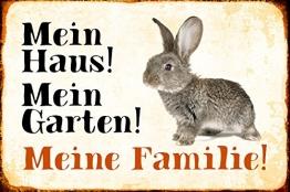 Schatzmix Mein Haus! Mein Garten! Meine Familie! Hase Kaninchen karnickel Rabbit Metal Sign deko Schild Blech Garten - 1