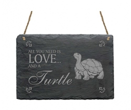 SCHIEFERTAFEL All you need is LOVE and a TURTLE Schildkröte Motiv ca. 22 x 16 cm - 1